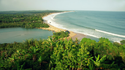 Beautiful view over cost landscape in Ghana next to Cape Coast (Butre beach)