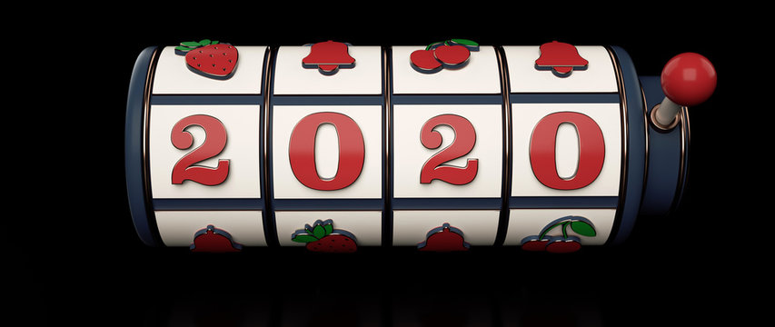 2020 Vintage / Retro Slot Machine Isolated On The Black Background. New Year Casino Concept - 3D Illustration