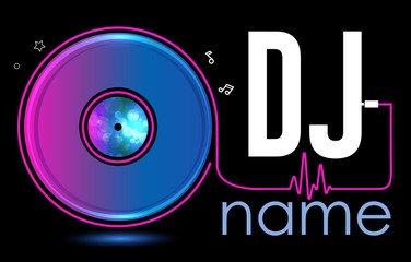 Dj Logo Design. Creative vector logo design with vinyl record. Music logotype template. For accessory, brand, identity, logotype, company, shop, dj party. Black background. Mp3 sign.