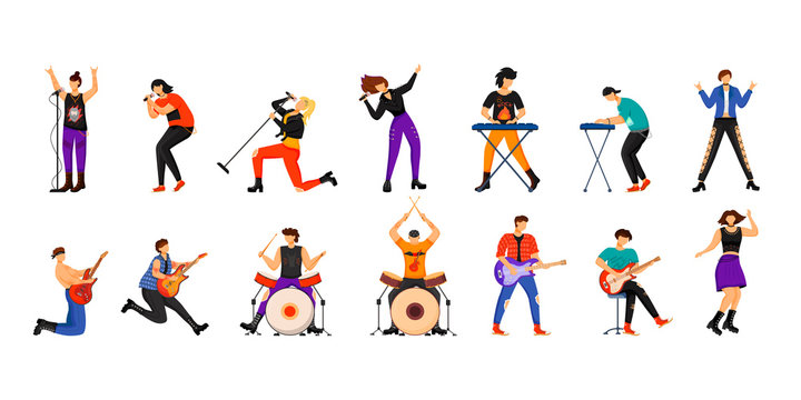 Rock musicians flat vector illustrations set. Music band members. Guitarists, drummers, lead vocalists, keyboardists. People playing musical instruments. Isolated cartoon characters