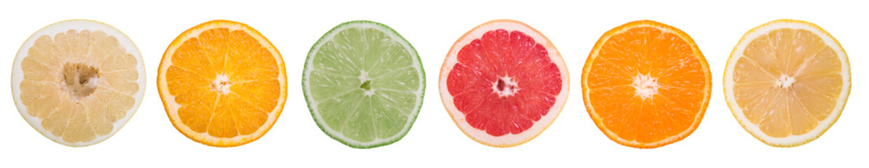 multi-colored citrus slices on a white background