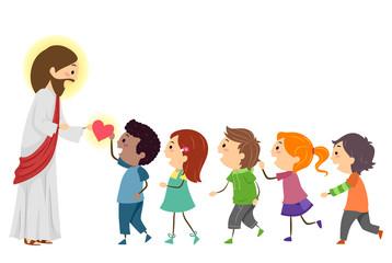 Stickman Kids Jesus Give Hearts Illustration