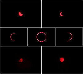 A combination picture shows an annular solar eclipse observed with the use of a solar filter in Siak