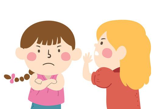 Kids Girls Whisper Angry Gossip Illustration