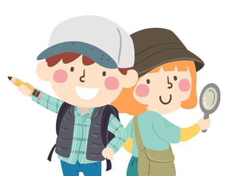 Kids Scavenger Hunt Partners Illustration
