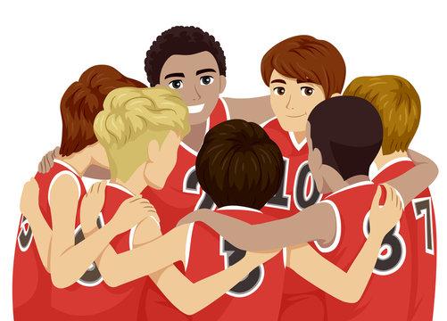 Teens Boys Sports Club Basketball Illustration