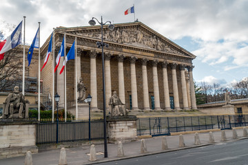The french national assembly in Paris - aka Assemblee nationale or Palais Bourbon
