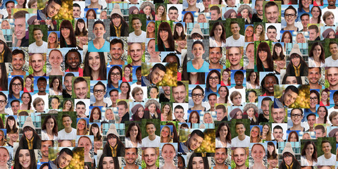 Background portrait collection group of young people portraits faces banner multicultural