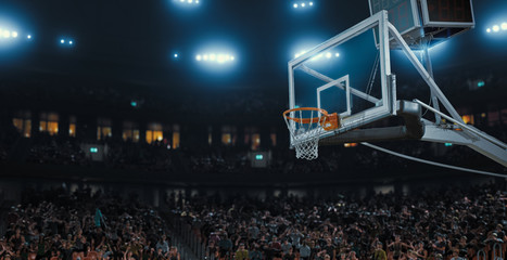 Professional basketball stadium made in 3d with animated crowd.