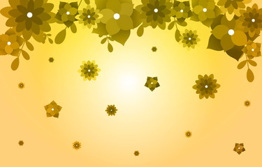 Summer Spring Blooming Flower Nature with Golden Yellow Background