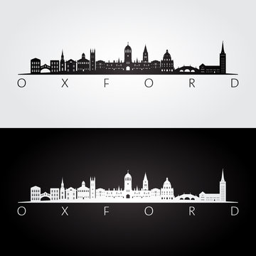 Oxford skyline and landmarks silhouette, black and white design, vector illustration.