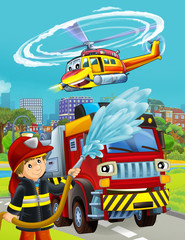 Printed roller blinds Cars cartoon scene with fireman vehicle on the road - illustration for children