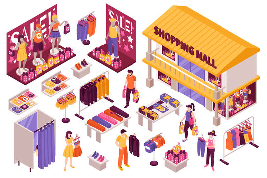 Clothing Store Isometric Set