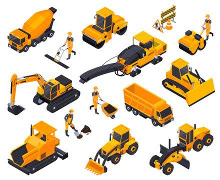 Road Construction Isometric Icon Set