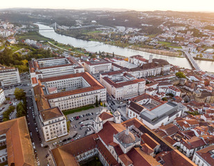 Wall Mural - Aerial view of University of Coimbra at sunset, Portugal