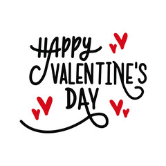 Happy Valentine's day, Hand drawn card, poster, banner, isolated on white background