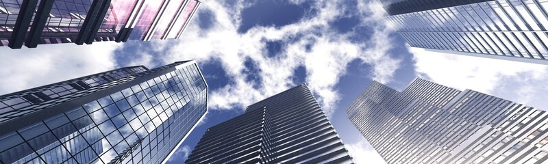 Skyscrapers against the sky with clouds. Skyscrapers view from below. Skyscrapers under a harsh sky. 3d rendering. Fotomurales