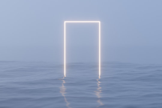 Glowing frame floating on the lake and reflecting in the water, 3d rendering.