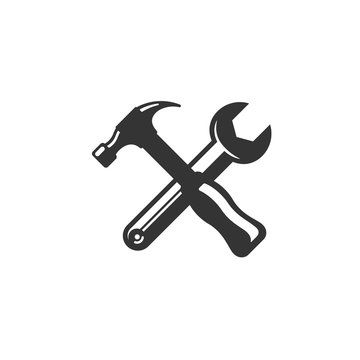tools hammer and wrench icon vector illustration for website and graphic design symbol