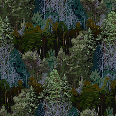 Repeated seamless pattern of deciduous and coniferous trees.