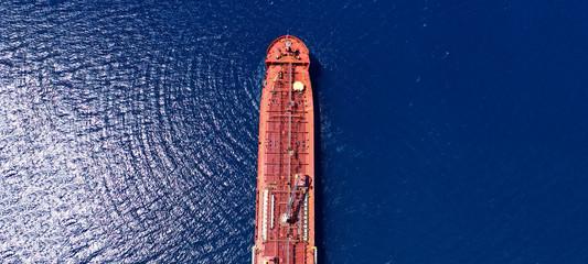 Türaufkleber Schiff Aerial drone ultra wide photo of industrial petrochemical oil and gas fuel tanker ship cruising Mediterranean deep blue sea