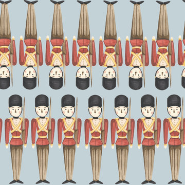 hand drawn isolated watercolor illustration on the flat background. Nutcracker christmas seamless pattern.
