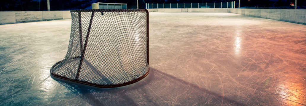 hockey net on an outdoor rink