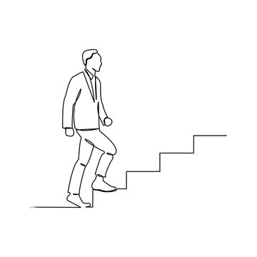 continuous line drawing of business man walk on stair vector illustration