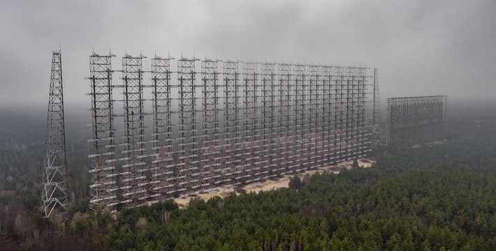 An aerial view taken with a drone of Soviet over-the-horizon radar Duga in Chernobyl Exclusion Zone, Ukraine