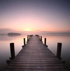 Foto op Textielframe Lichtroze Holzsteg am See am Morgen