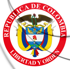 3D Presidential Seal of Colombia. 3D Illustration.