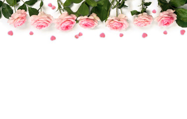 Decoration of Valentine Day. Beautiful flowers pink roses and pink hearts with space for text on...