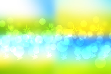 Foto auf AluDibond Gelb Abstract fresh vivid bright spring or summer landscape texture with natural yellow bokeh lights gradient light green and a blue bright sunny sky. Beautiful background with copy space.
