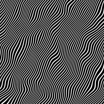 Vector - Diagonal black and white curved wave lines.Optical illusion.