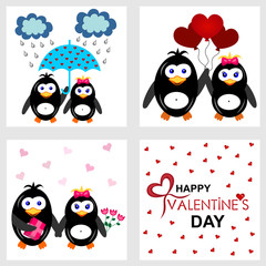 Seth vector illustration with penguins in love, in various situations such as under an umbrella, with colors and a gift, with balls, in love collection. Use for valentines, cards, pillows, blankets