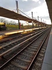 Montage in der Fensternische Eisenbahnschienen U-Bahnhof Garching-Hochbrück