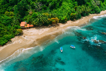 Aerial Drone View of a tropical island with lush jungle in Costa Rica, Isla del Caño