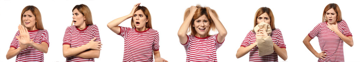 Set of woman having panic attack on white background