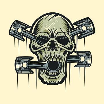 skull and piston vector illustration design