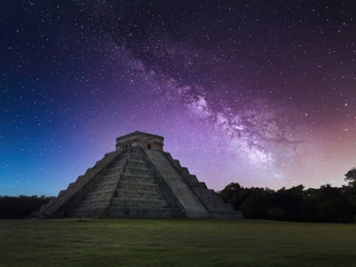 Chichen Itza Under a Bright and Starry Night Sky with the Milky Way Galaxy Above it
