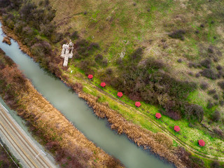 Drone shot over Markeli was a medieval Byzantine and Bulgarian frontier stronghold, the ruins of which are located in Karnobat Municipality, Bulgaria, Europe