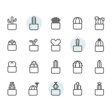 Cactus icon and symbol set in outline design