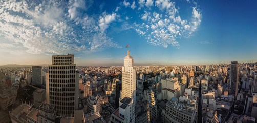 Spoed Fotobehang Brazilië São Paulo downtown 360º aerial panorama