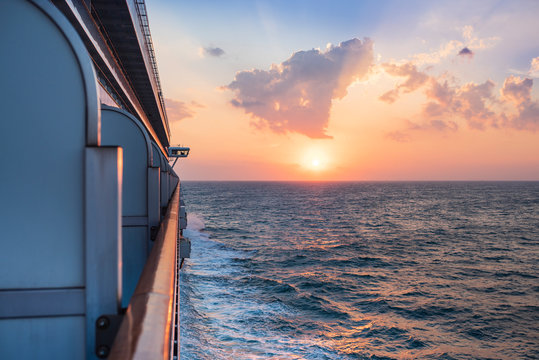 Beautiful sunset under water from the cruise ship