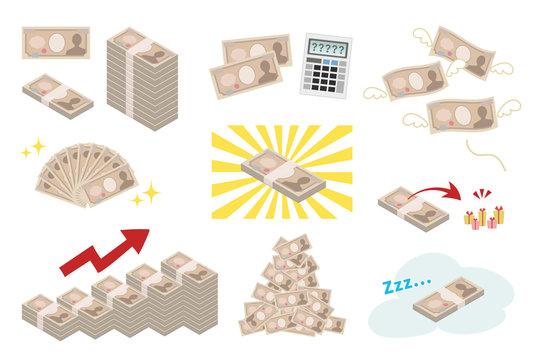 一万円札 お金イメージセット
