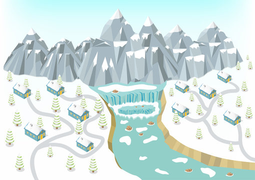 isometric winter mountains background