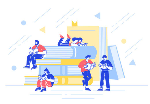 The concept of daily reading. People read books, hold them in their hands. Characters on the background of big books. Flat design style