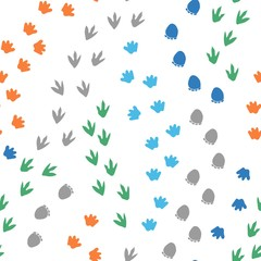 Seamless repeat pattern with different shape colorful dinosaur foot prints tracks on a white background. Great for boys' and kids' designs!