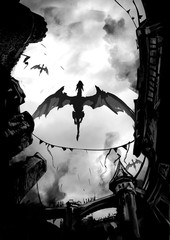 A flock of dragons ominously flies over a steaming medieval city, against a gray sky. 2d illustration