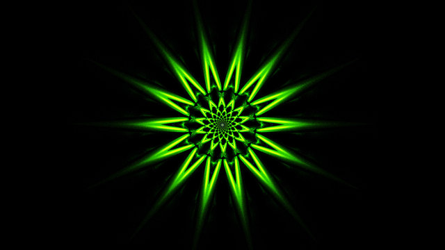Star burst green explosion beautiful isolated on black